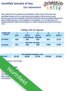 northfield out of school club fees