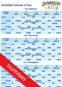 BK Northfield Schedule of Nursery Fees