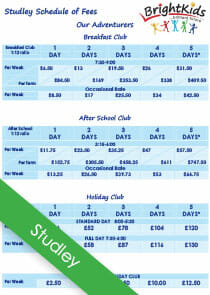 studley out of school club fees