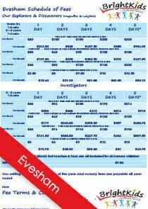 BK Evesham Schedule of Nursery Fees